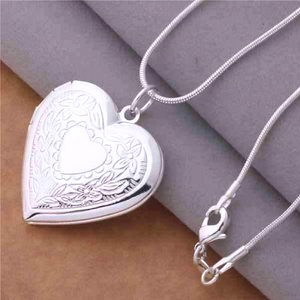 Floral Design Stamped Silver Heart Locket Necklace