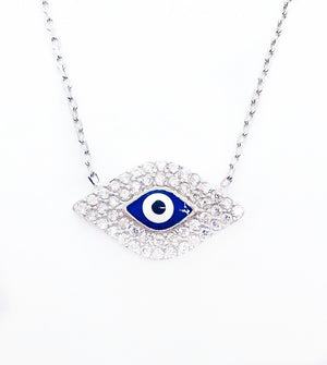 Charming Blue Evil Eye CZ & Sterling Silver Necklace