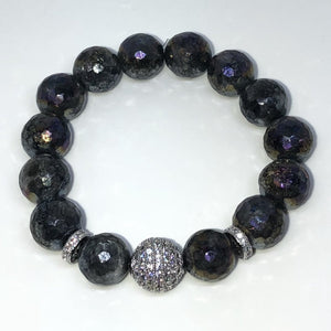 Faceted Natural Labradorite Stretch Bead Bracelet