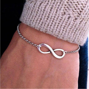 Infinity Symbol Chain Bracelet in Silver or Gold
