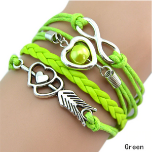 Forever Love Handmade Braided Leather Friendship Bracelet For Woman - Light Green