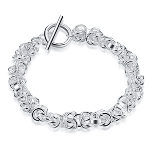 Knotted Links Sterling Silver Toggle Bracelet For Woman