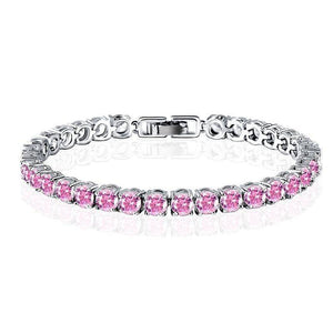Luxury Pink Swiss CZ Tennis Bracelet For Woman Special Occasion Holiday Birthday
