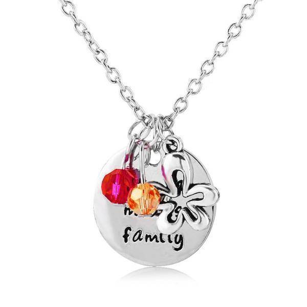 """Ohana Means Family"" Stamped Sentiment Necklace"