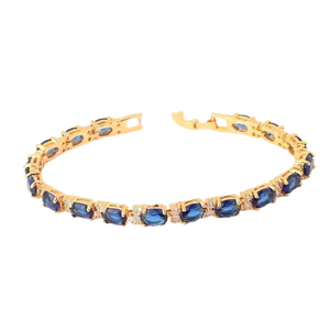 Sapphire Blue Oval Austrian Crystal Tennis Bracelet with Extender in Yellow Gold For Woman