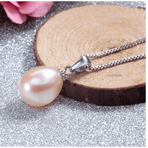Peach Genuine Freshwater Pearl Drop Necklace