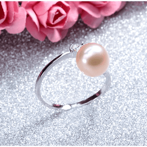 ON SALE - Peach Genuine Freshwater Pearl & CZ Adjustable Bypass Ring