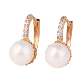 14K White Gold Plated Pearl Bead Solitaire Hoop Earrings For Woman
