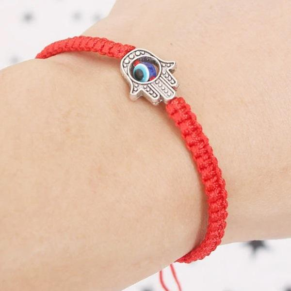 Braided Hamsa Blue Evil Eye Adjustable Bracelet