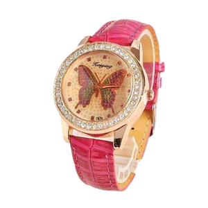Shimmering Butterfly Rose Gold Ladies Leather Watch For Woman