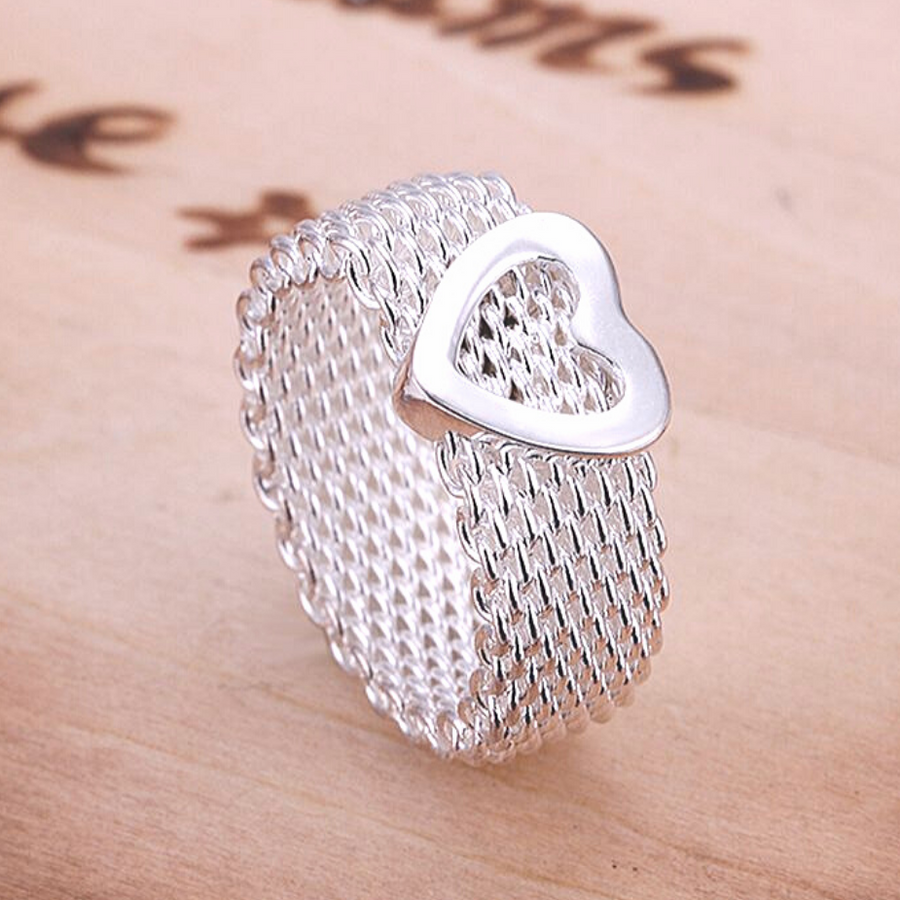 Heart Silky Chains Silver Mesh Ring