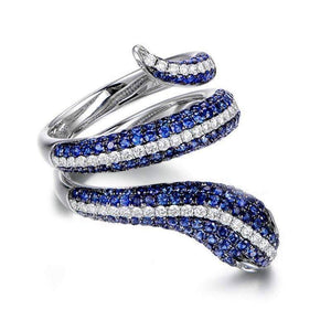 Tempeste En Bleu 2CTW Snake IOBI Simulated Diamond Ring