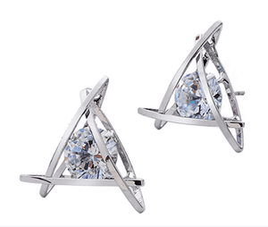 ON SALE - Captured Crystals Triangle Earrings
