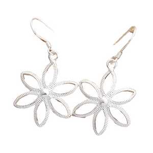 Star Flower Light Silver Earrings For Woman