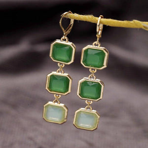 ON SALE - Talya Squares Jade Drop Earrings