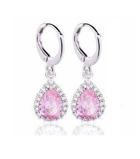 Teardrop Halo Zirconia Dangling Hoop Earrings