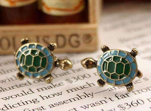 Tiny Turtle Green Enamel Stud Earrings