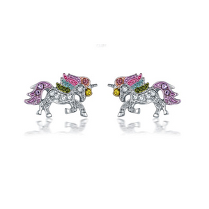 Rainbow Crystal Unicorn Earrings