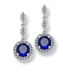 Pavé Triple Drop CZ Halo Earrings