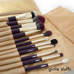 Girliestuffs - Matte Gold Burgundy Brush set + gold clutch bag