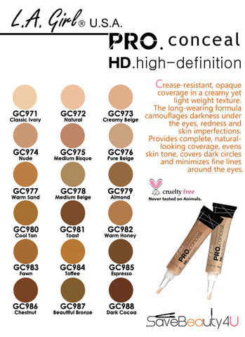 L.A. Girl Pro Conceal HD Concealer- Creamy Beige GC973