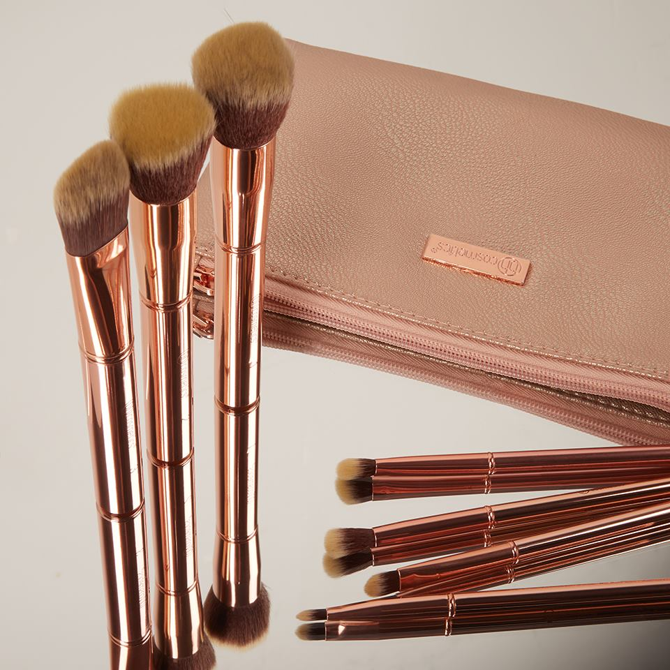 9ca065e621895 Metal Rose – 11 Piece Brush Set With Cosmetic Bag – Collections Best Deals