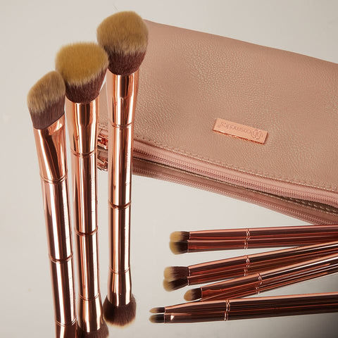 Metal Rose – 11 Piece Brush Set With Cosmetic Bag