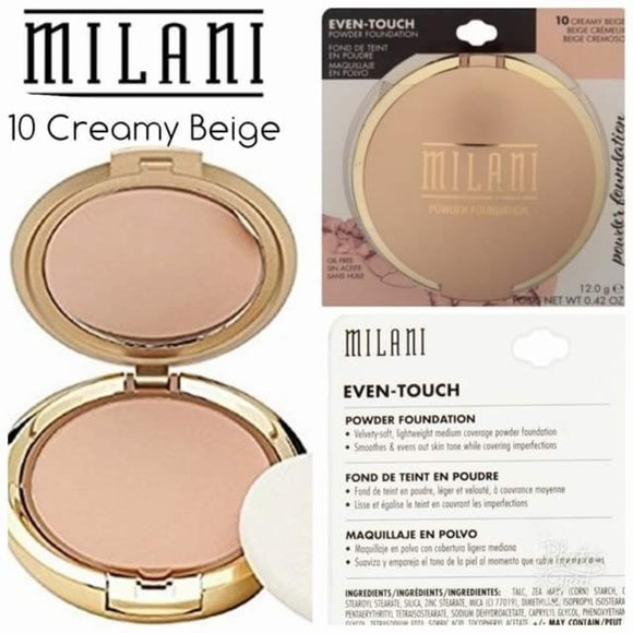 Milani Even Touch Powder Foundation- Creamy Beige 10