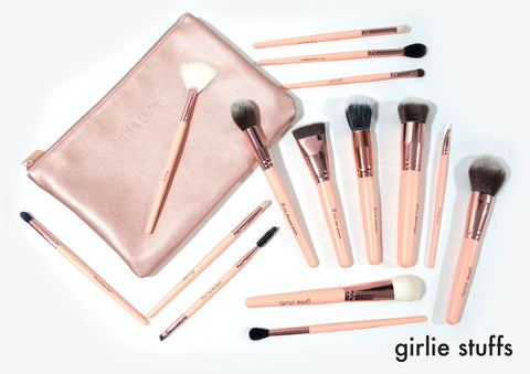 GirlieStuffs - The Rose Gold Complete Set of Makeup Brushes
