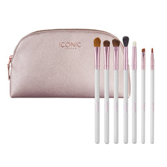 WHITE AND ROSE GOLD EYE BRUSH SET
