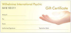 GIFT CERTIFICATE FOR 30 MINUTE PSYCHIC READING