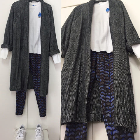 Tweed coat and our super printed leggings