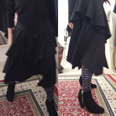 Black Layered Skirt With Leggings For A Wintry Look