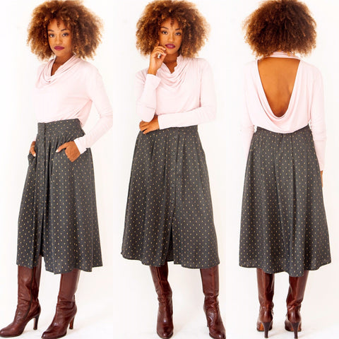 Grey-Gold All Day Skirt