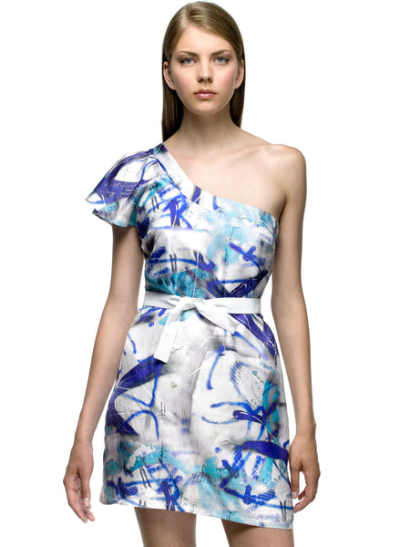 Silk Graffiti Cocktail Dress