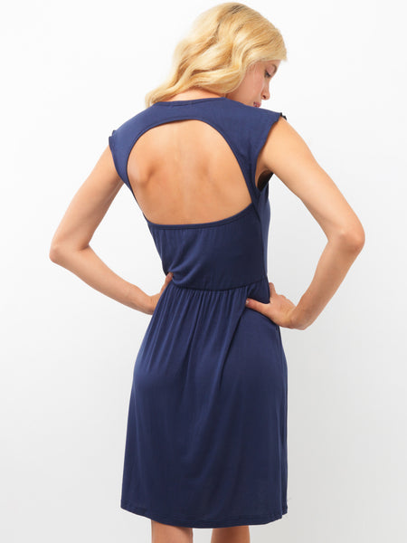 Navy Open Back Dress
