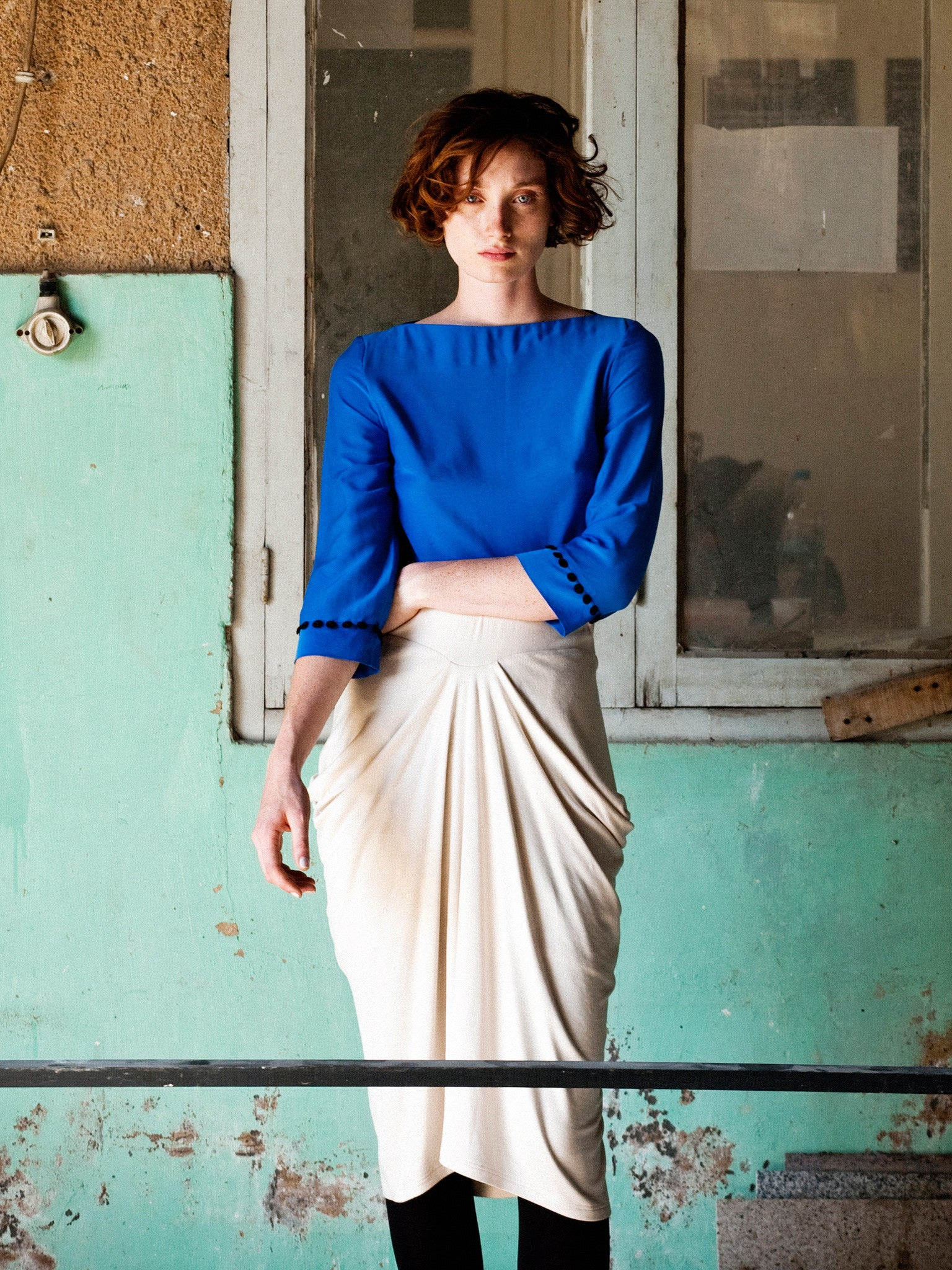 Electric Blue Top & Ecru Wool Blend Skirt