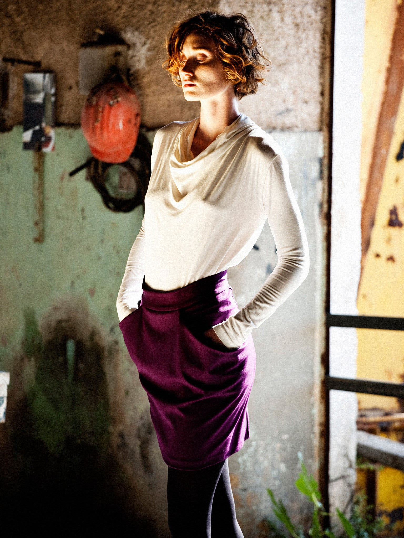 Ecru Draping Top & Plum On The Go Skirt