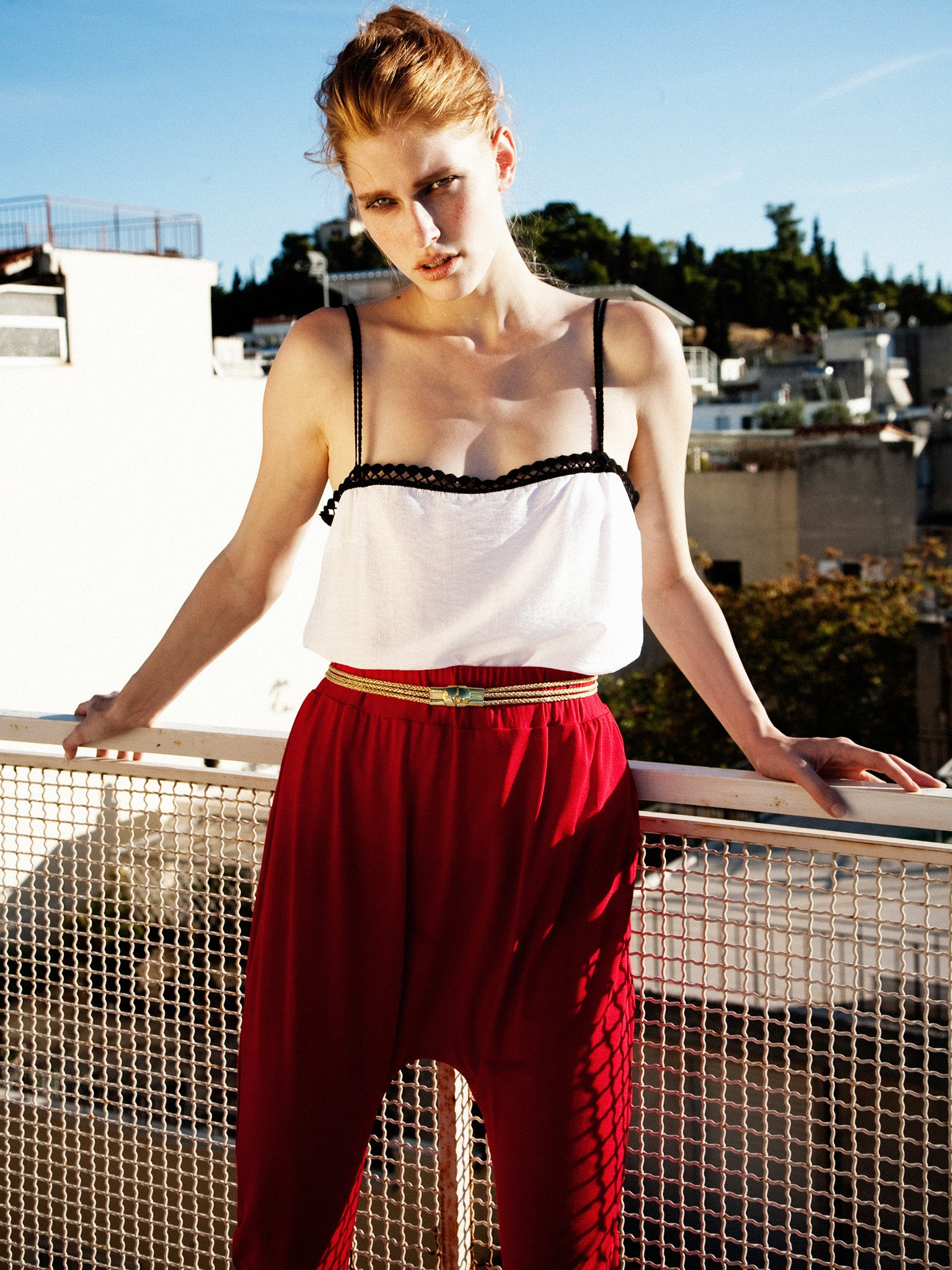 White Silk Cami & Red Atlantis Pant
