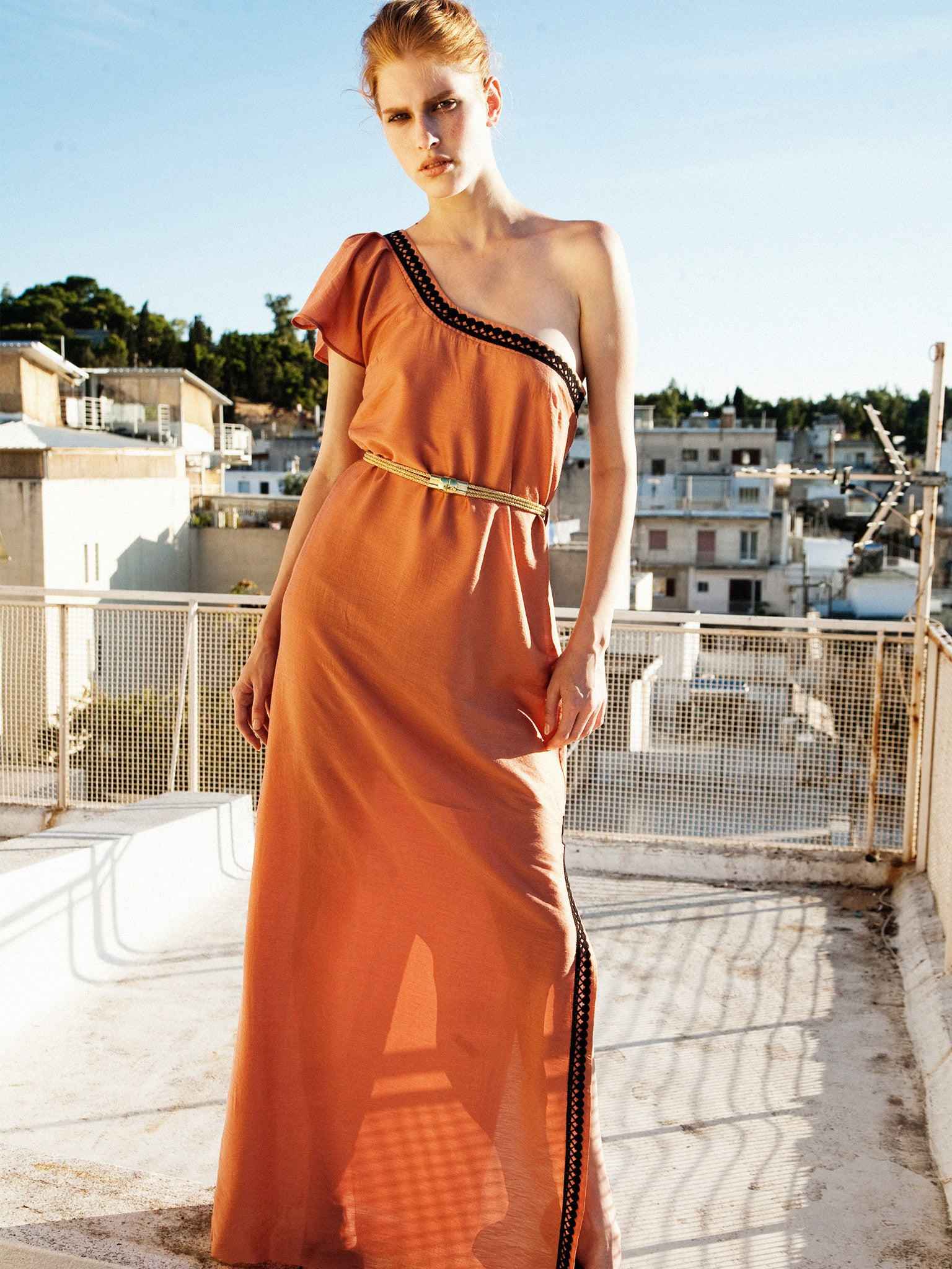One Shoulder Long Grecian Grace Dress