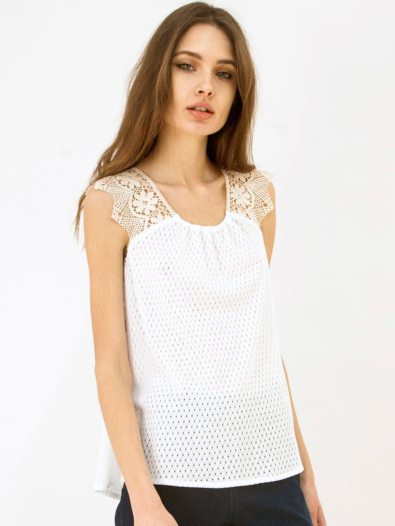 Cotton Knit Tunic Top White
