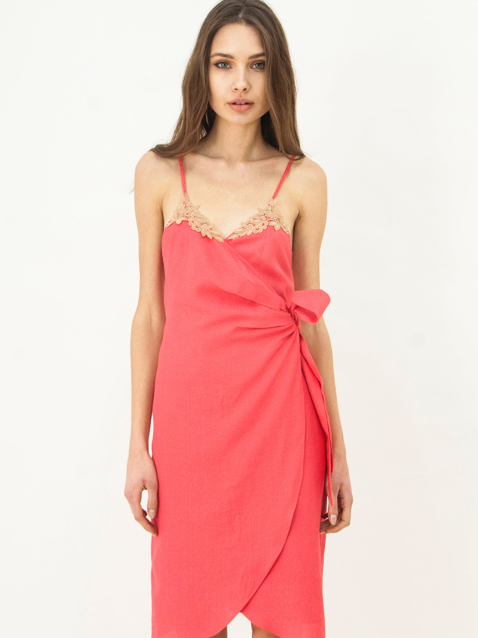 Watermelon Silk Blend Wrap Dress