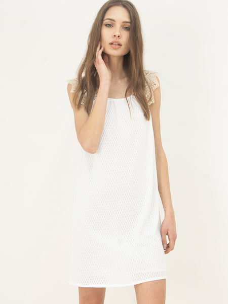 Cotton Knit Tunic Dress White