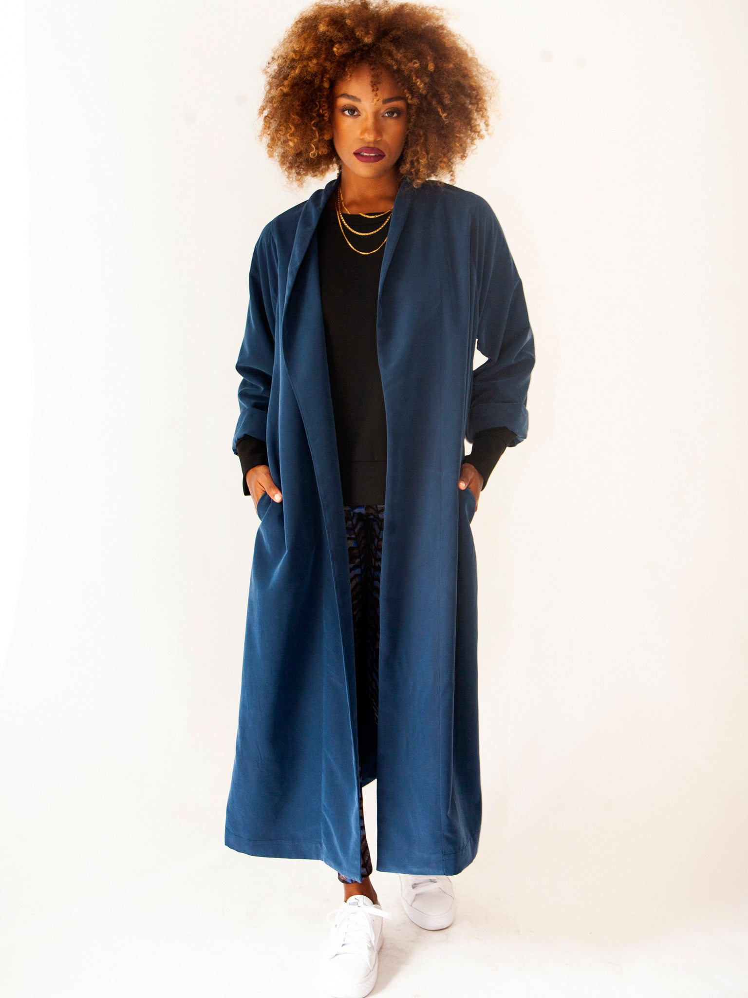 Blue Autumn Spring Trench Coat