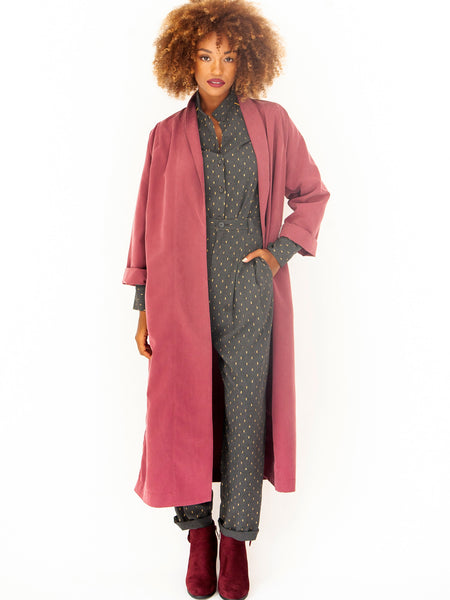 Plum Autumn Spring Trench Coat