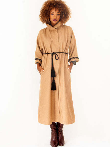 Camel Shielding Grecian Long Coat