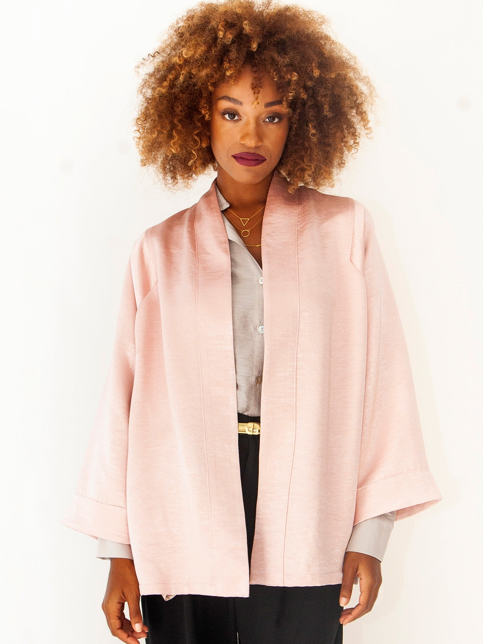 Frost PInk Shimmering Kimono Jacket