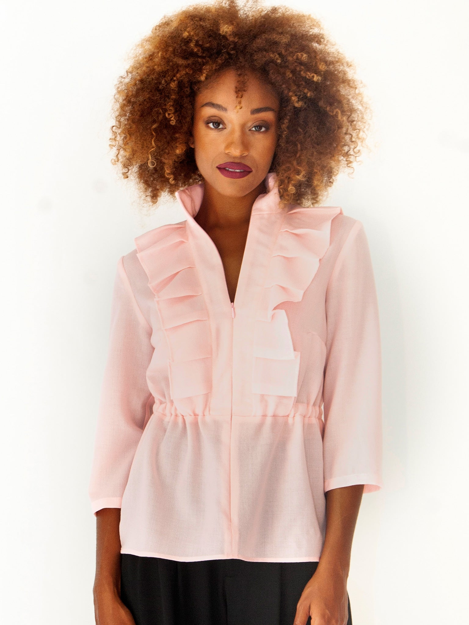 Blush Pink Wool Frilly Blouse
