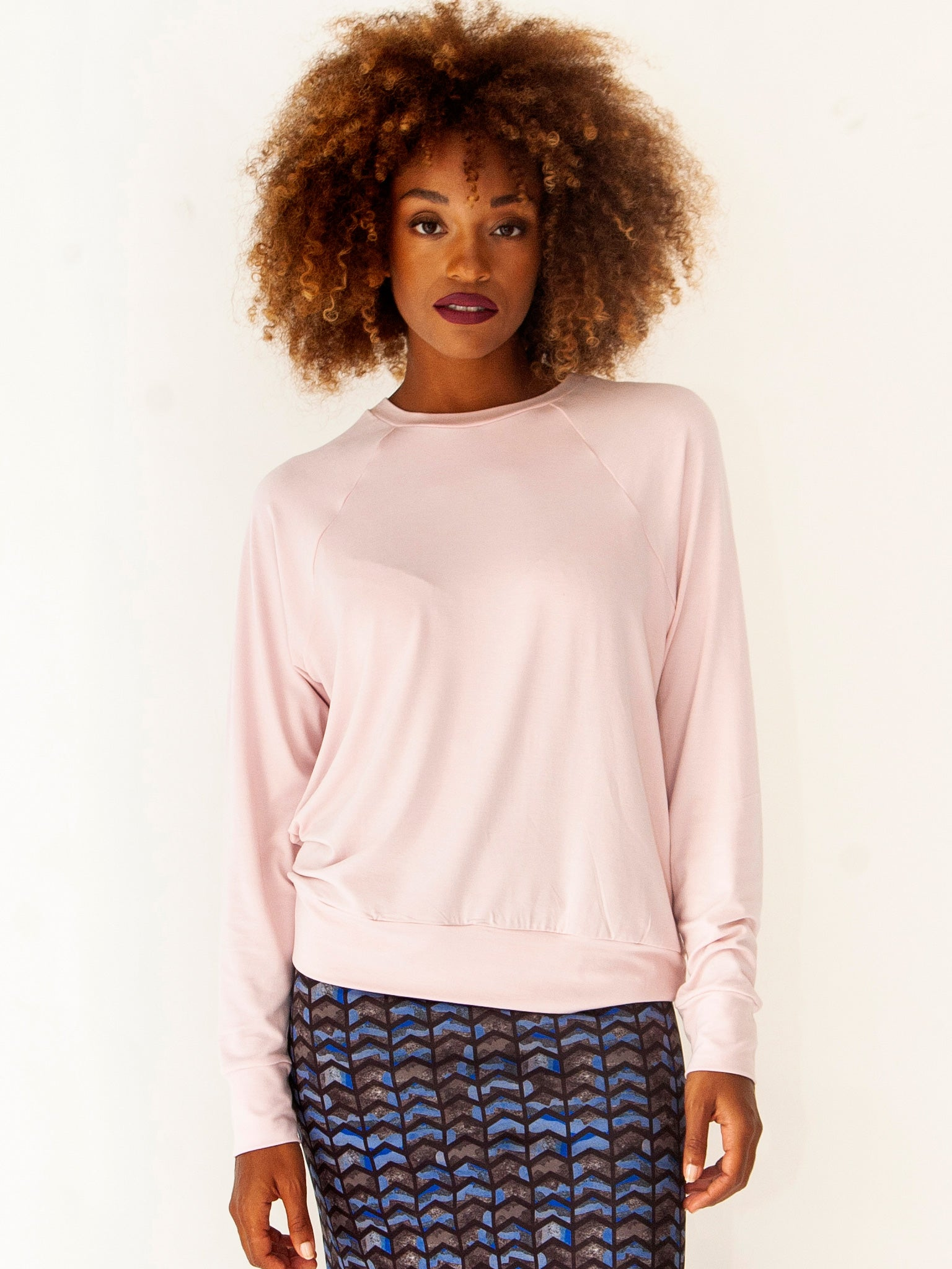 Soft Peach Skin Jersey Sweater