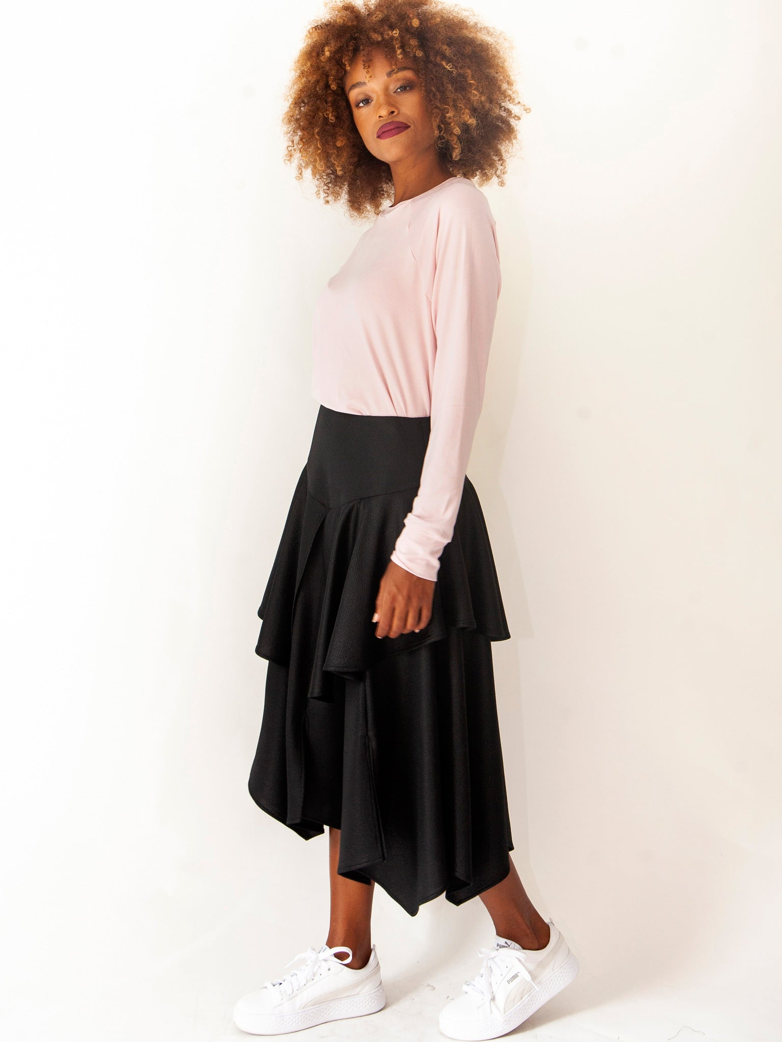 Black Smart Casual Layered Skirt